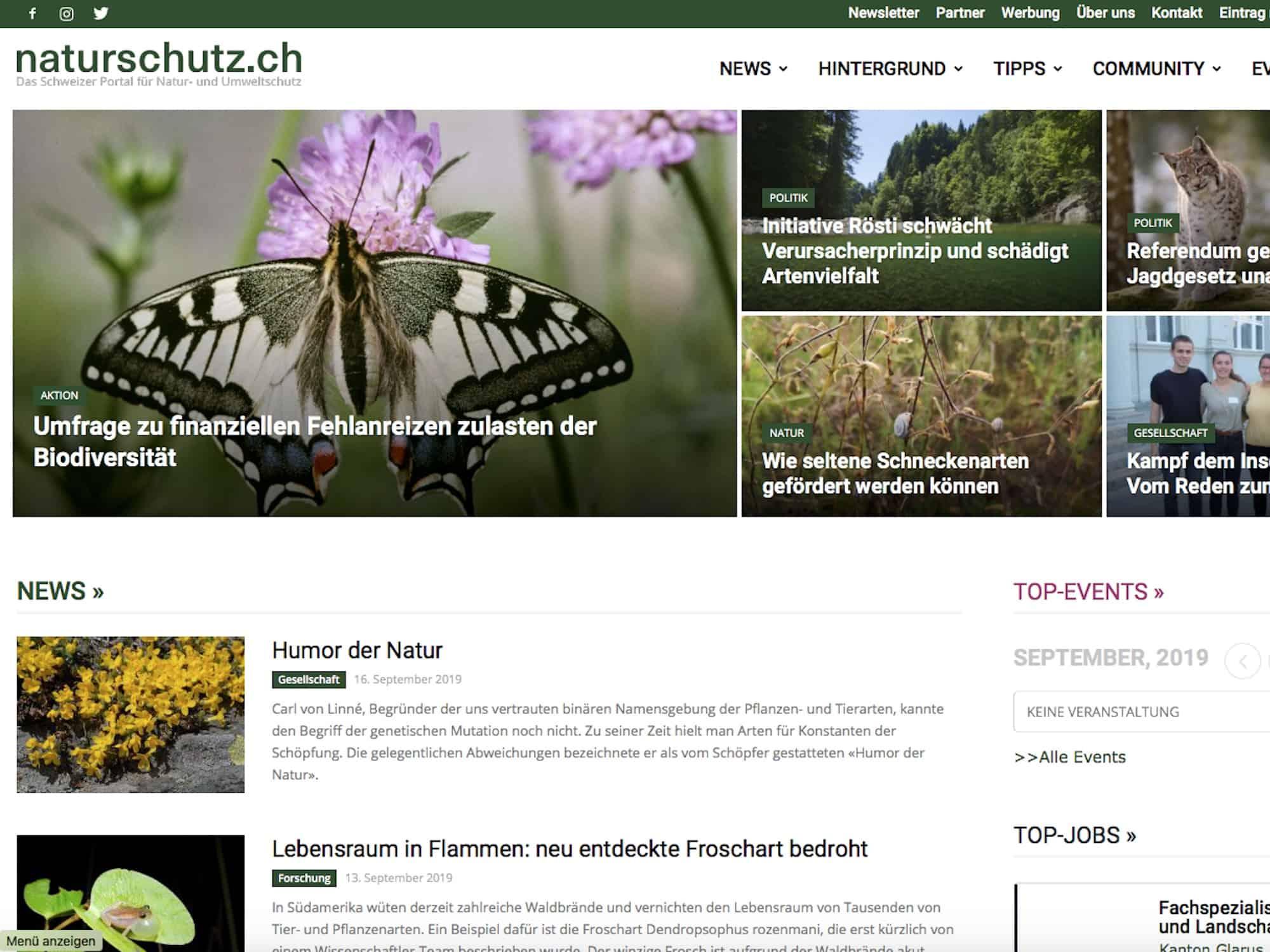 Screenshot naturschutz.ch